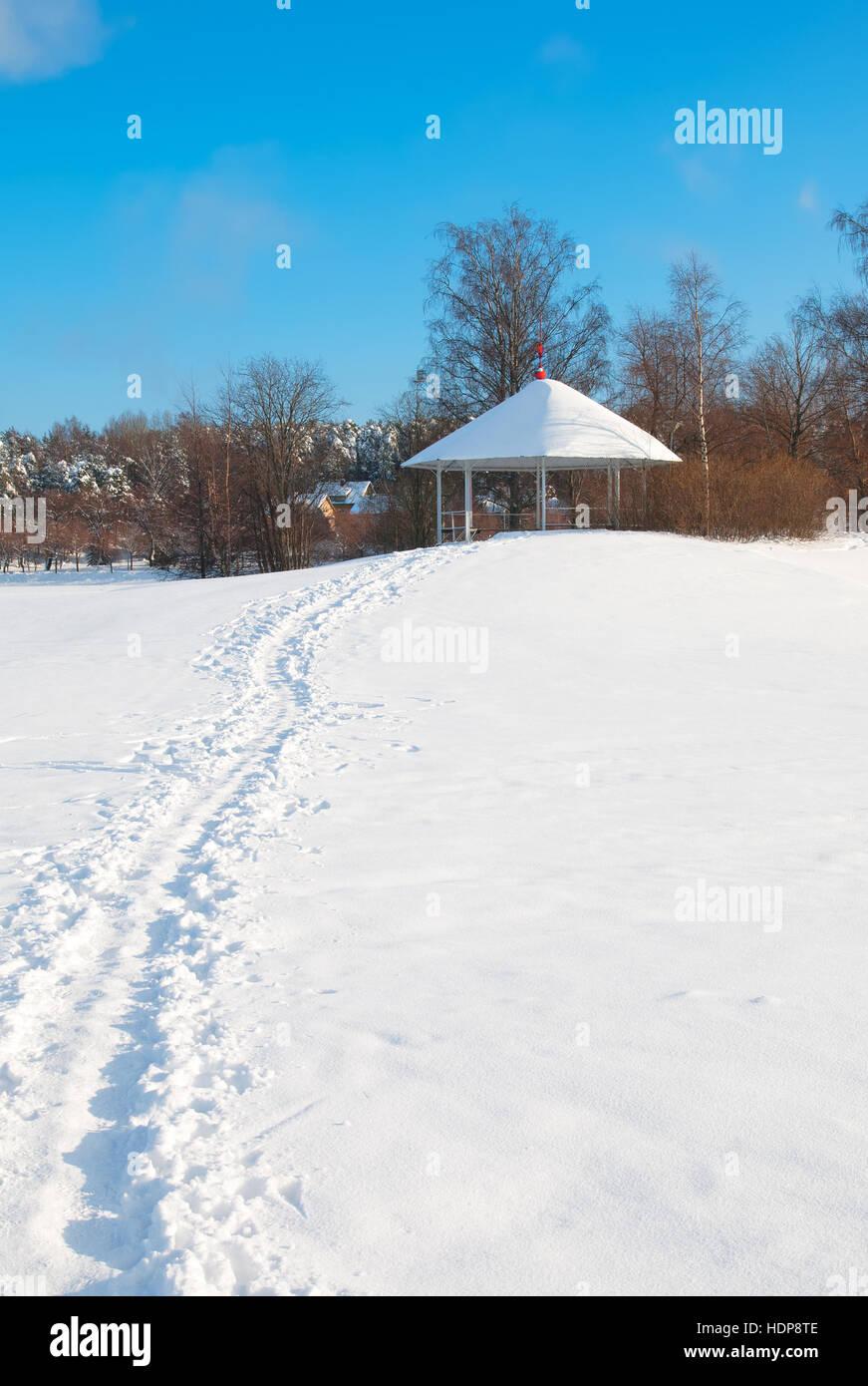 Lappeenranta. Finland. Winter landscape with pavilion on Halkosaari Island. Located in Lappeenranta Harbor on Saimaa - Stock Image