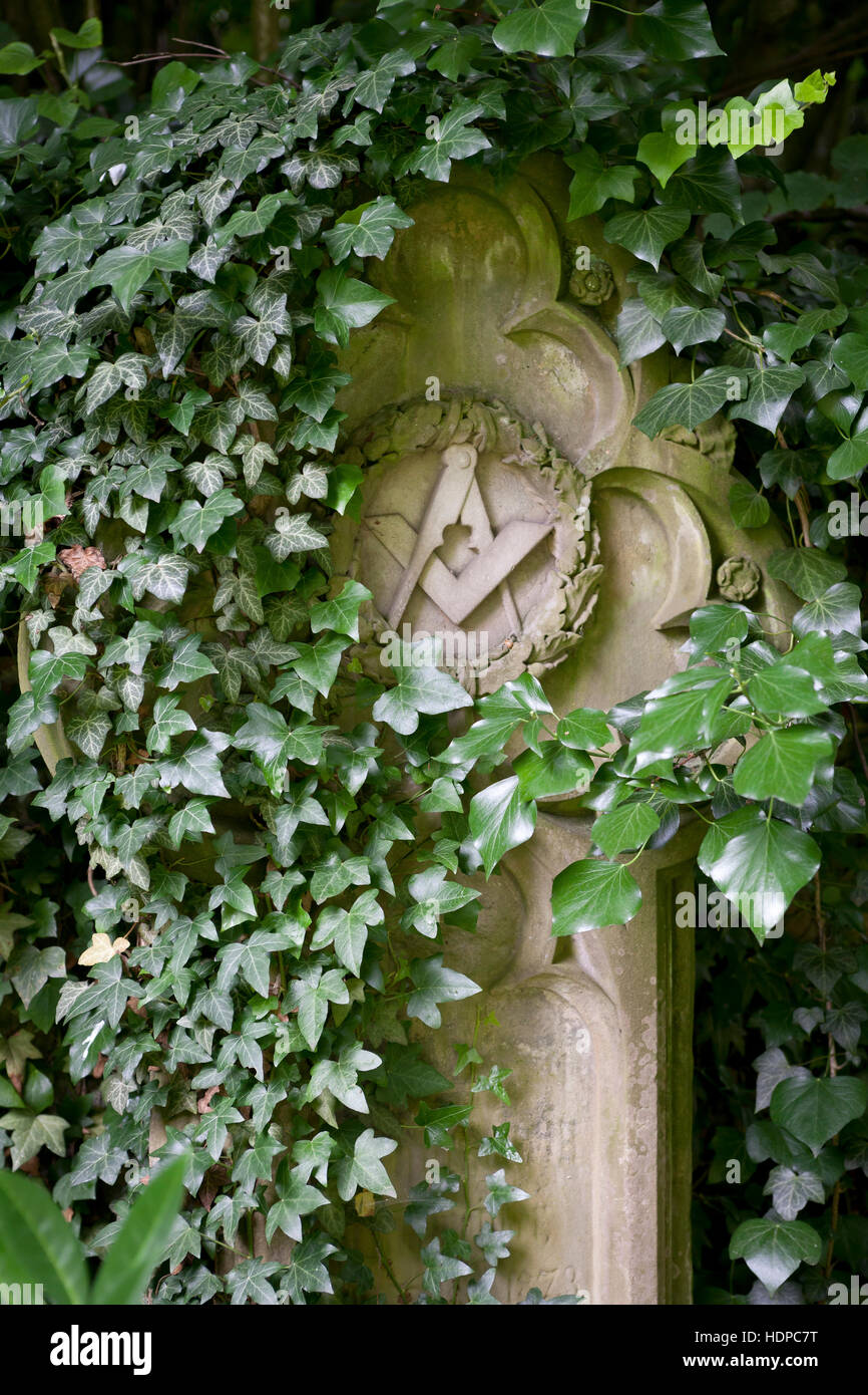 Europe, Germany, Cologne, old grave of a Freemason at the Melaten cemetery. - Stock Image