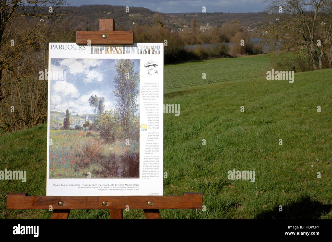 AJAXNETPHOTO. 2006. ILE SAINT MARTIN (NEAR),FRANCE. - IMPRESSIONIST PAINTER LANDSCAPE - POSTER DEPICTING THE CLAUDE Stock Photo