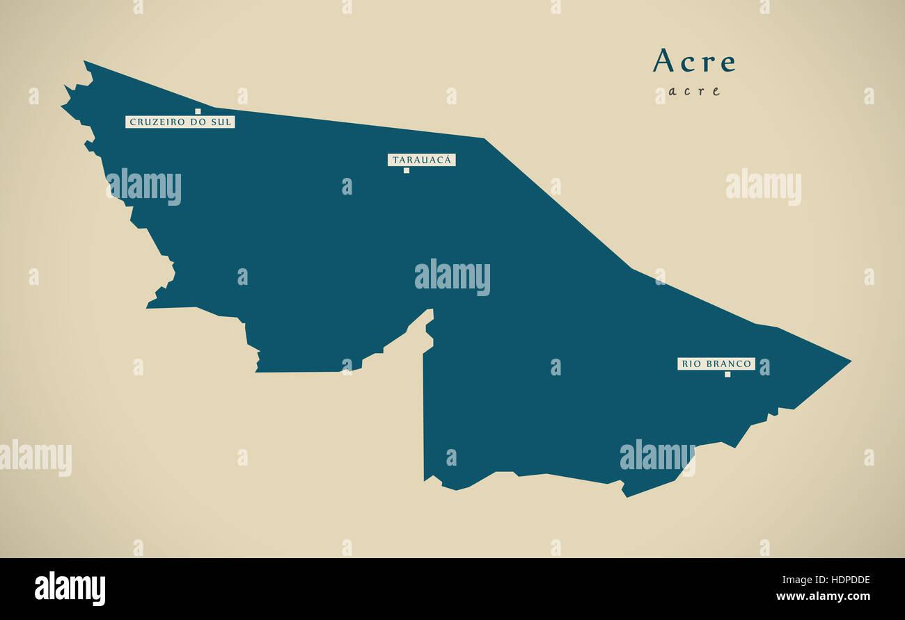 Modern Map - Acre BR Brazil Illustration - Stock Image