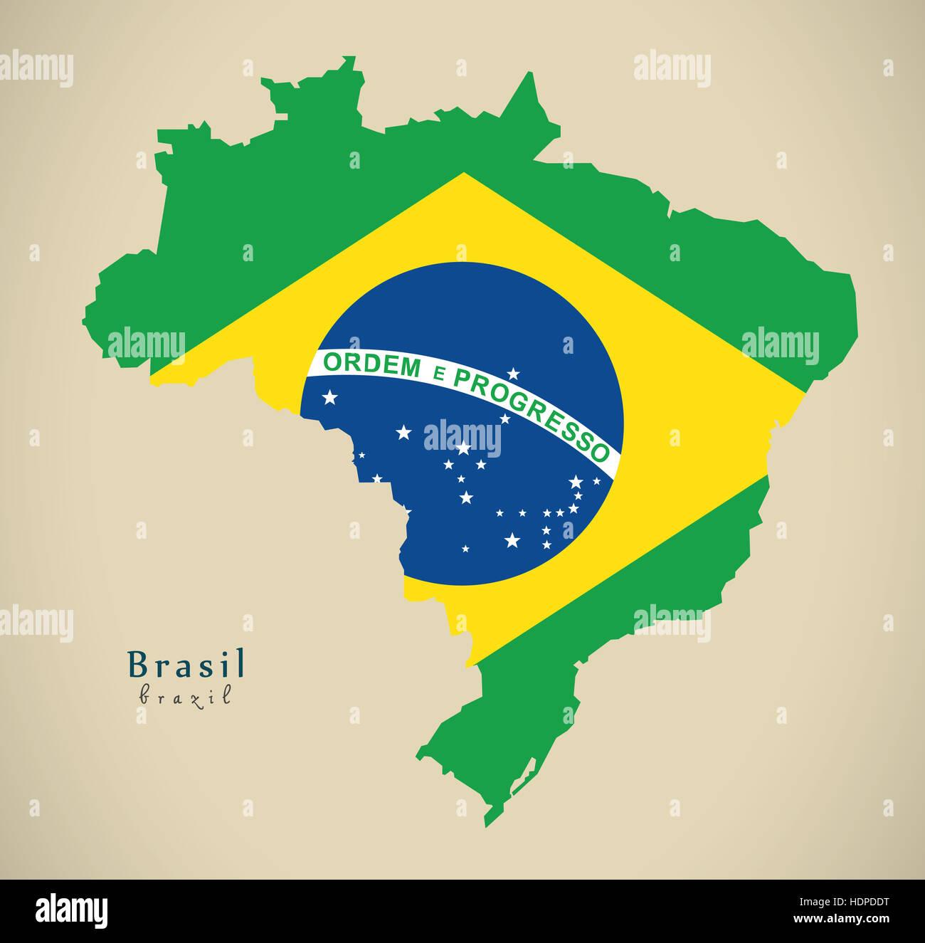 Modern Map - Brasil coloured BR Brazil Illustration - Stock Image