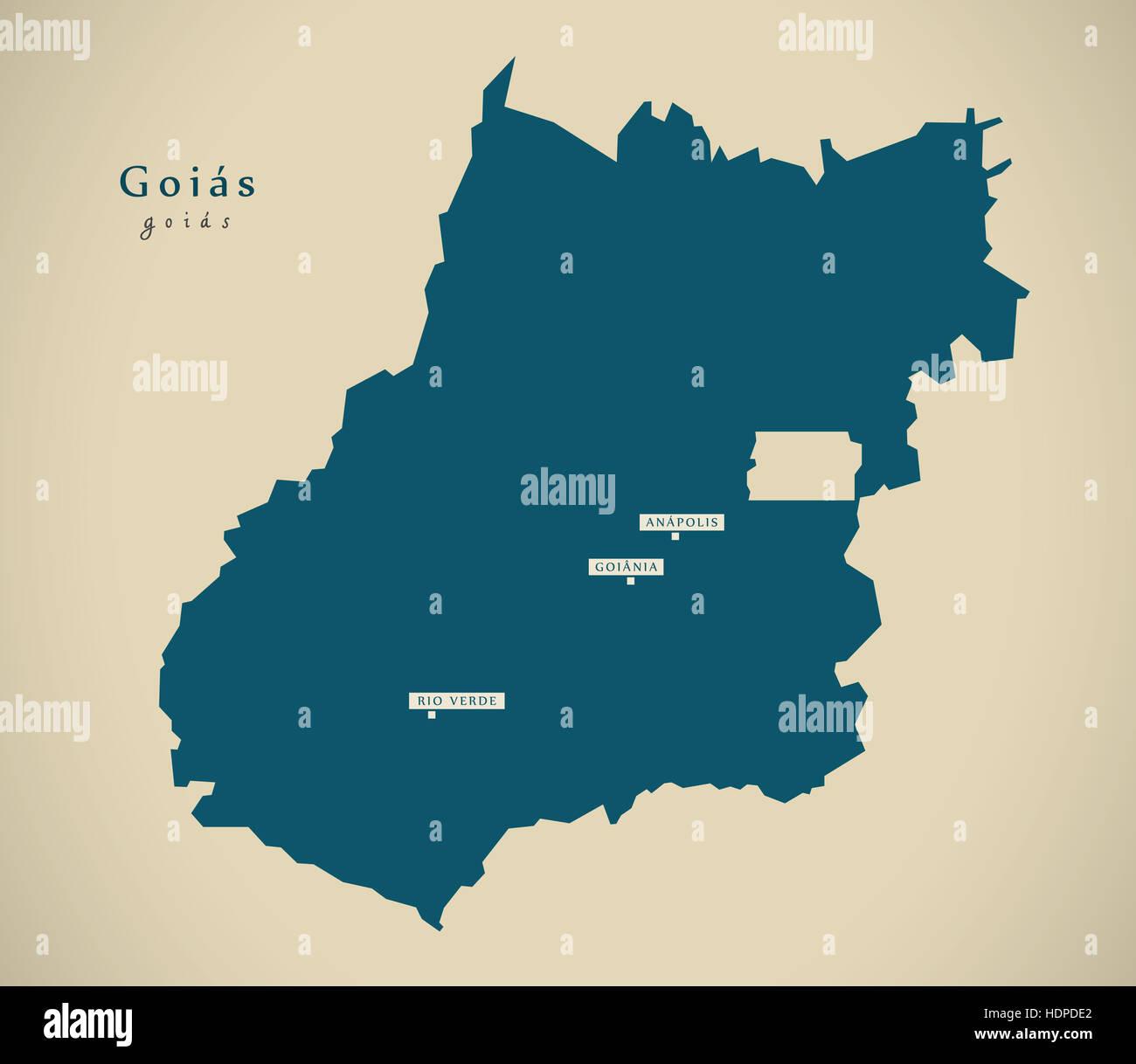 Modern Map - Goias BR Brazil Illustration - Stock Image