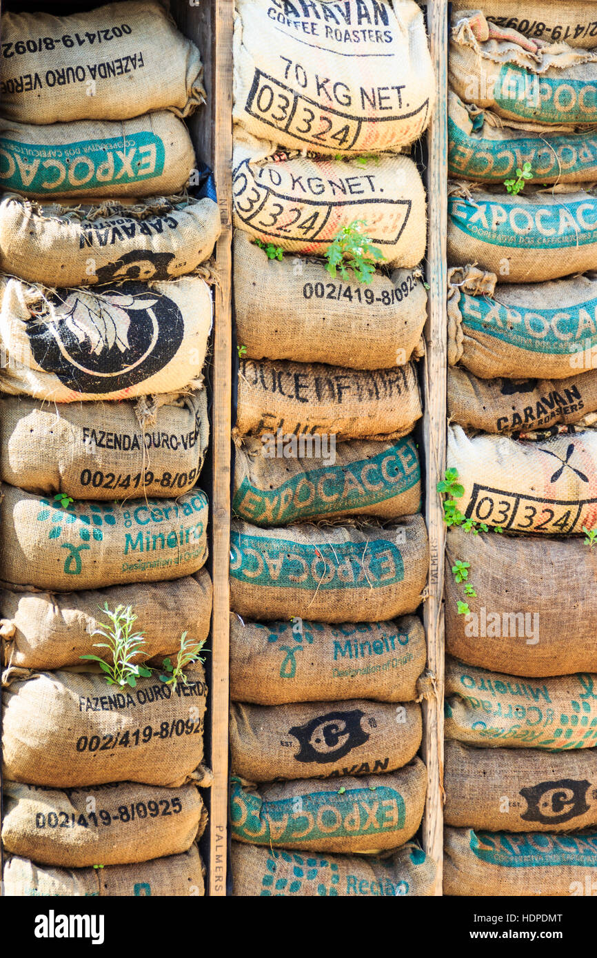 Stacked coffee sacks in the Skip Garden, a community resource providing a green oasis in the middle of the King's - Stock Image