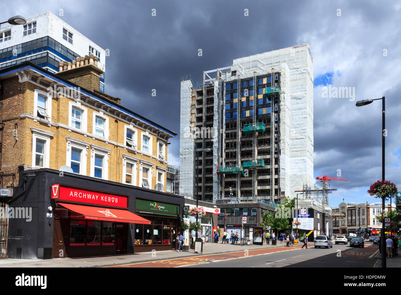 Archway Tower, North London, Wrapped Prior To Its Redevelopment By Essential  Living As U0027Vantage Pointu0027 In 2015, Archway Kebabs On The Left. Junction R