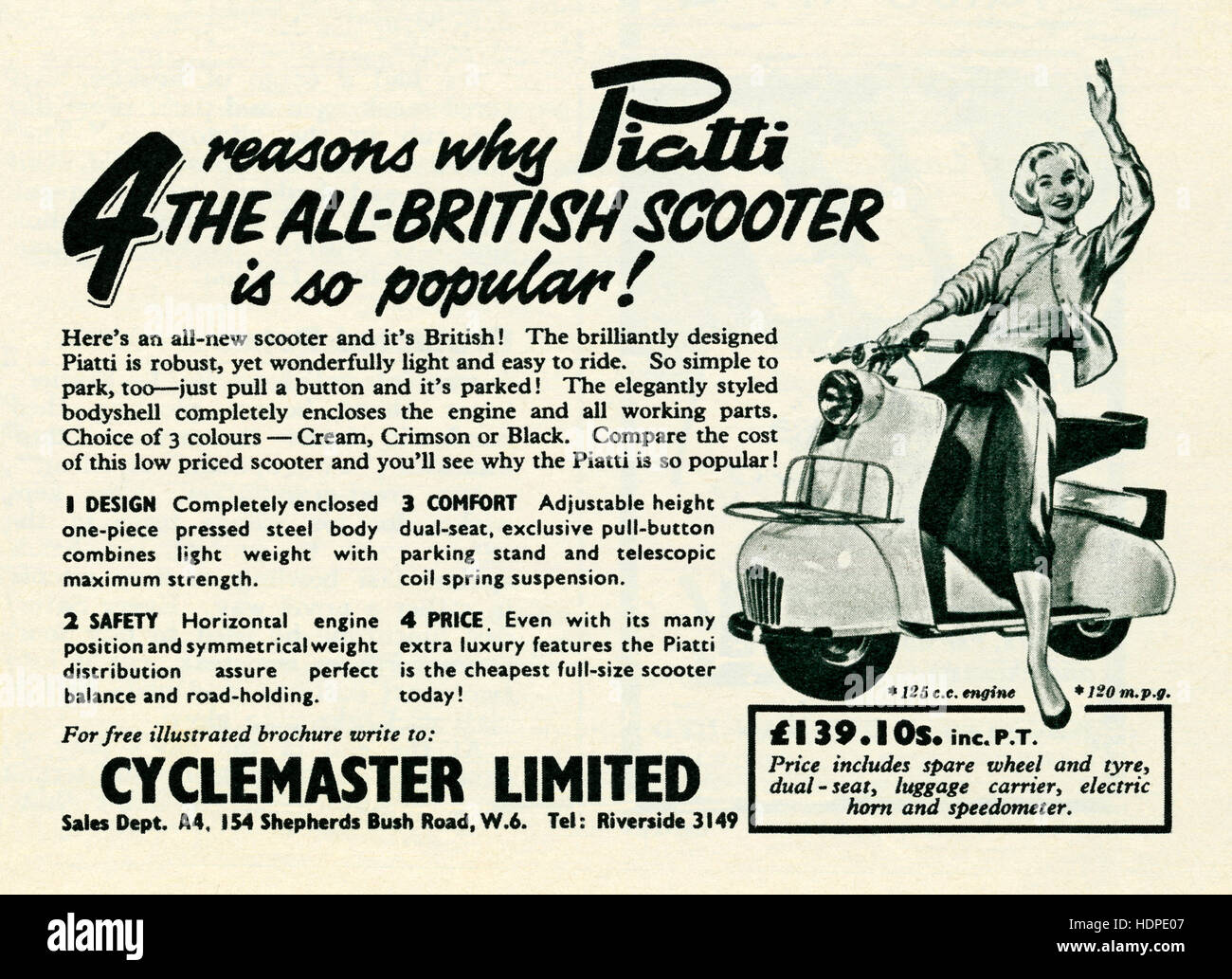 A 1957 advert for the British-made, Italian-looking Piatti motor scooter - Stock Image
