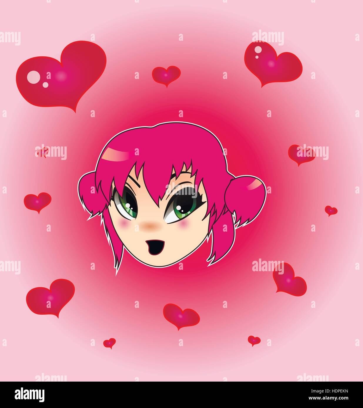 Valentine anime girl Stock Vector
