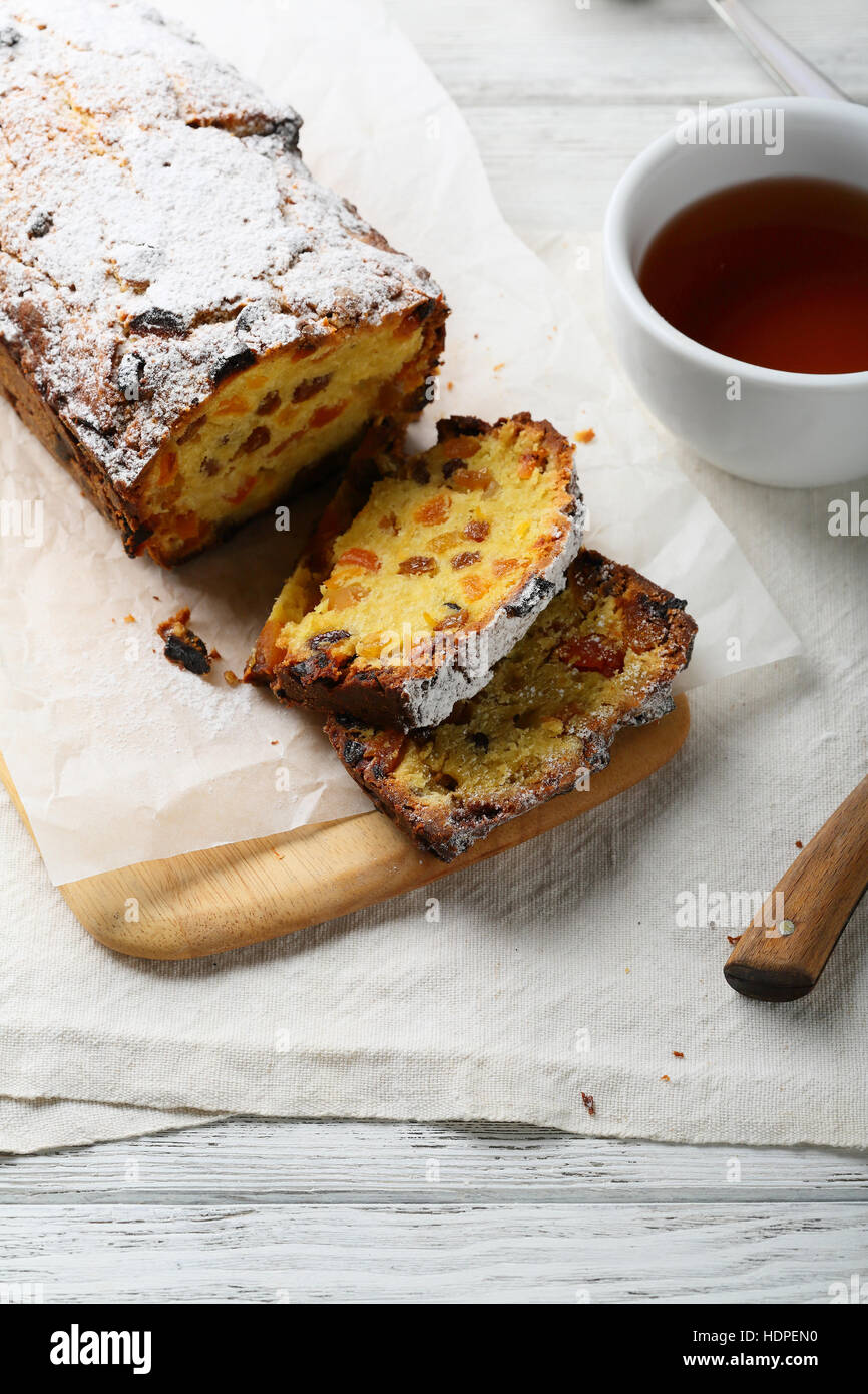 Holiday cake with candied fruit, food closeup - Stock Image