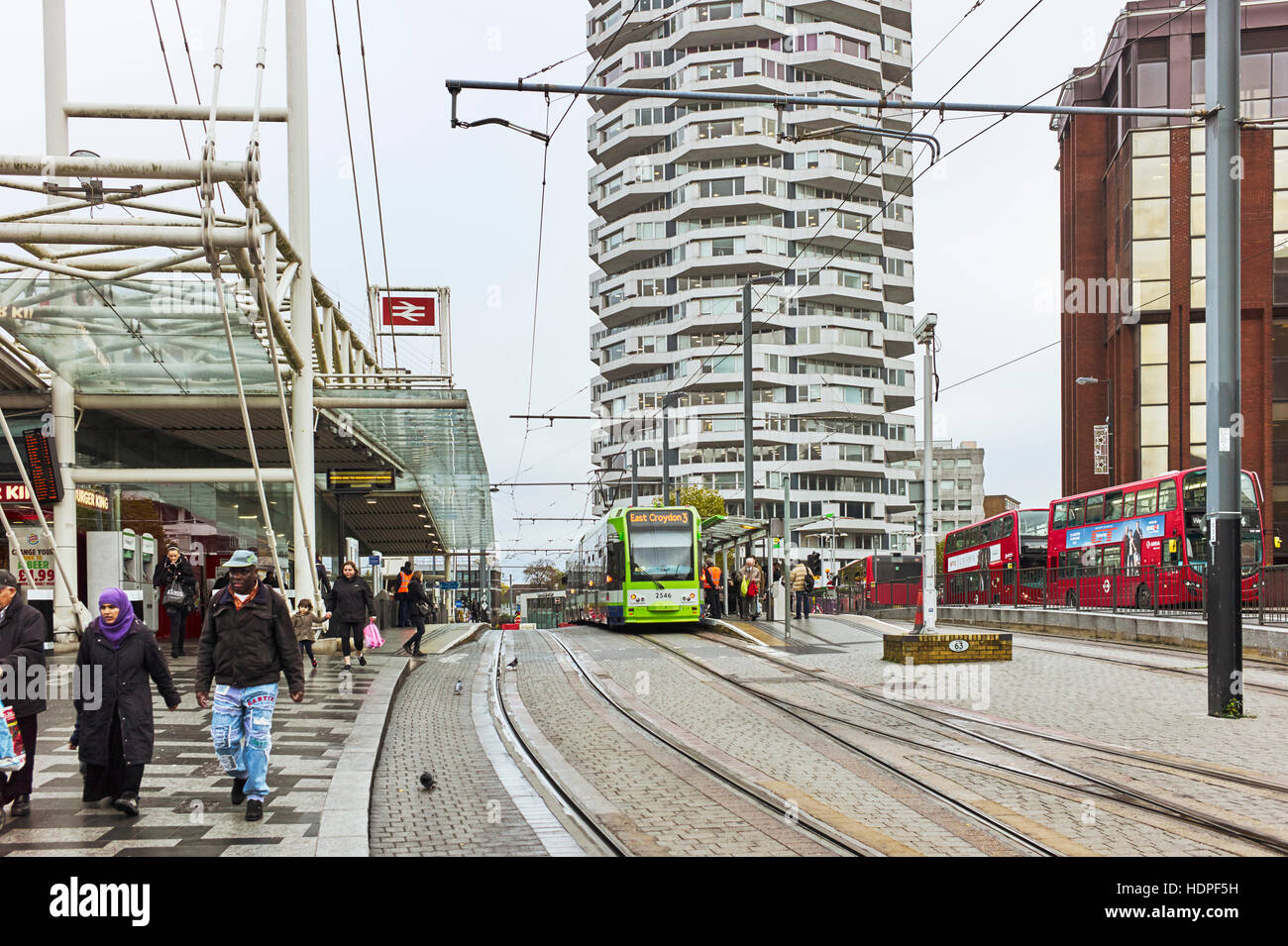 East Croydon station with tram - Stock Image