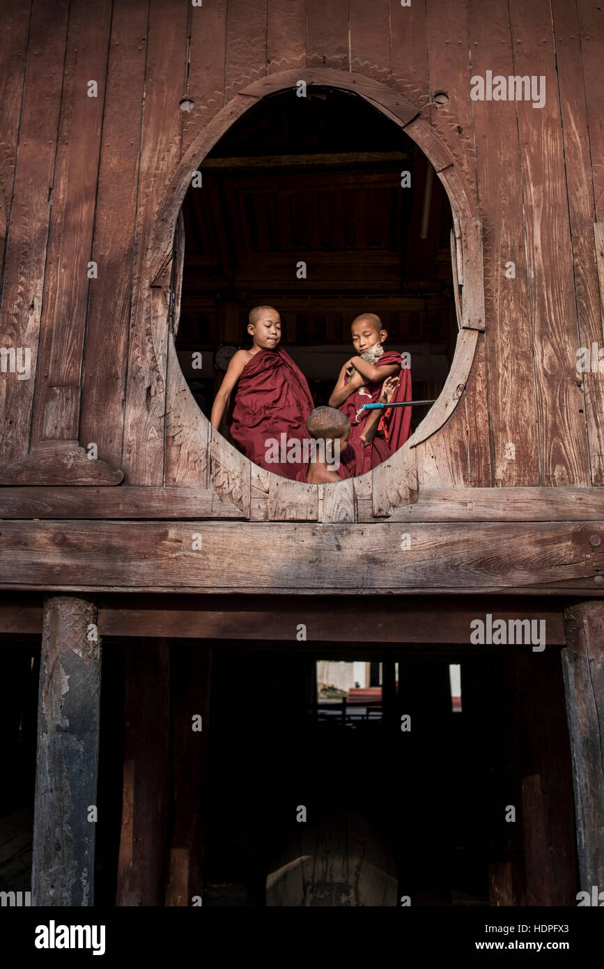 Novice Buddhist monks at the Shwe Yan Pyay Monastery in Nyaungshwe, Myanmar. - Stock Image