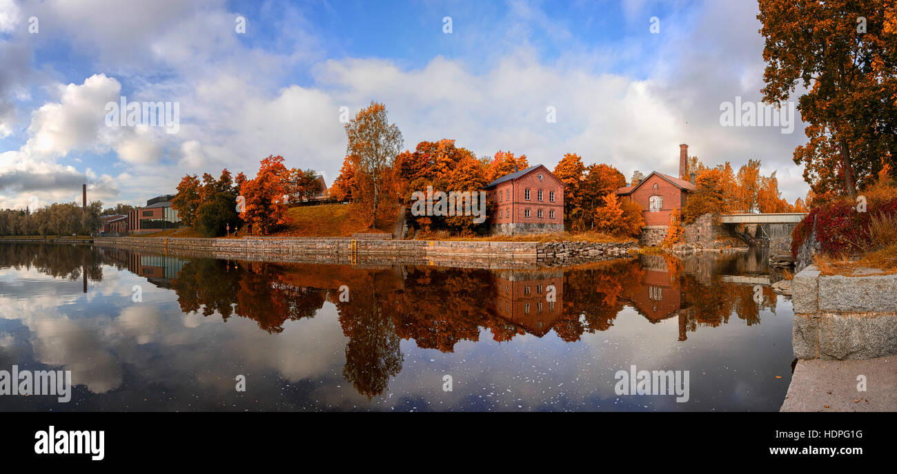 Autumn colors in the marine reflection of the twin. Close to the center of Helsinki is a magnificent place - Stock Image