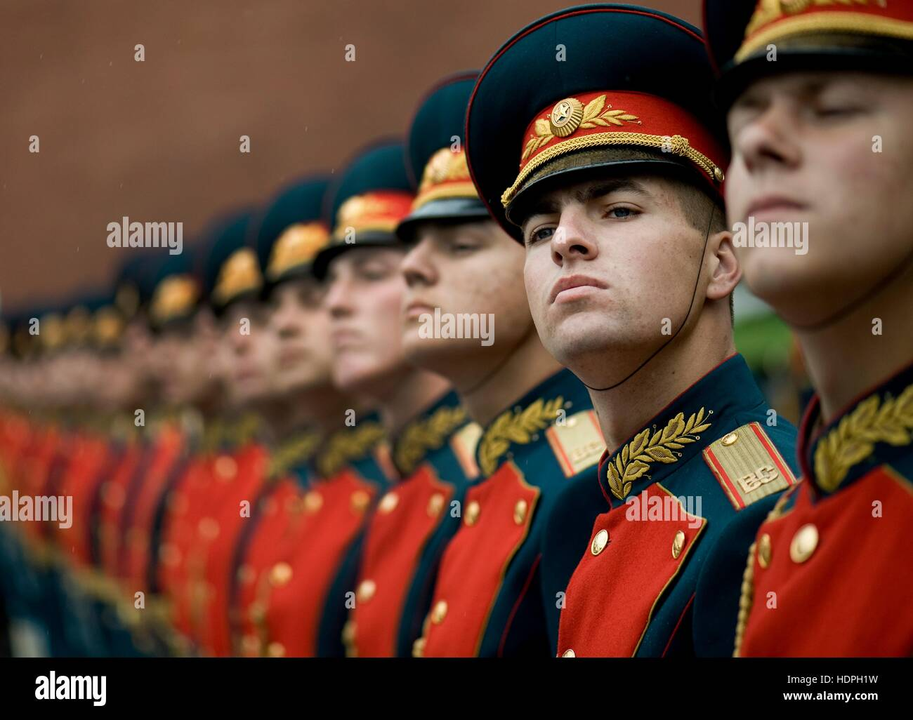The Russian Kremlin Regiment honor guard stands in formation during a wreath laying ceremony at the Tomb of the - Stock Image