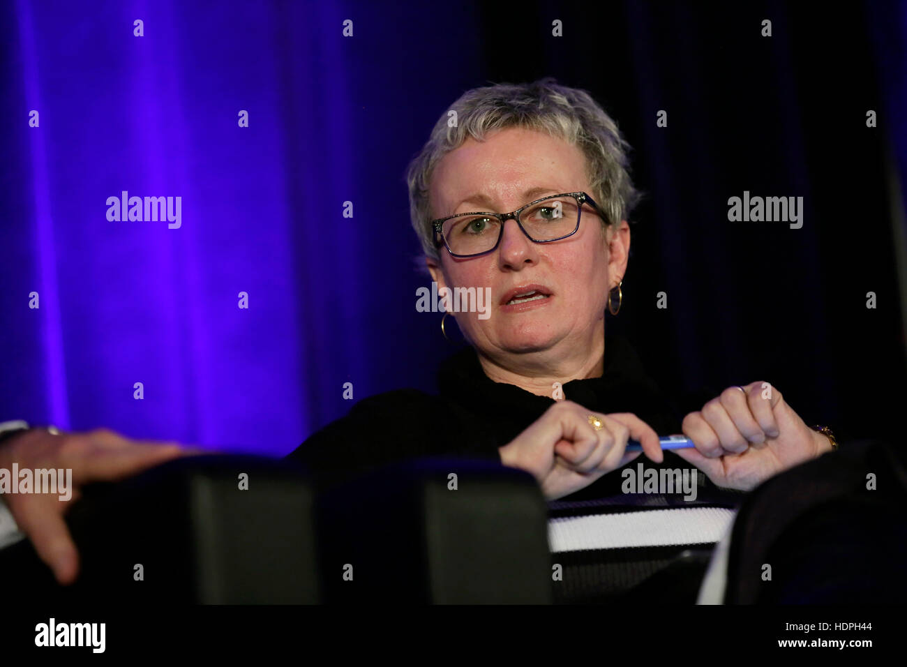 Canada Border Services Agency Executive Vice President Tina Namiesniowski speaks at a panel discussion during the - Stock Image