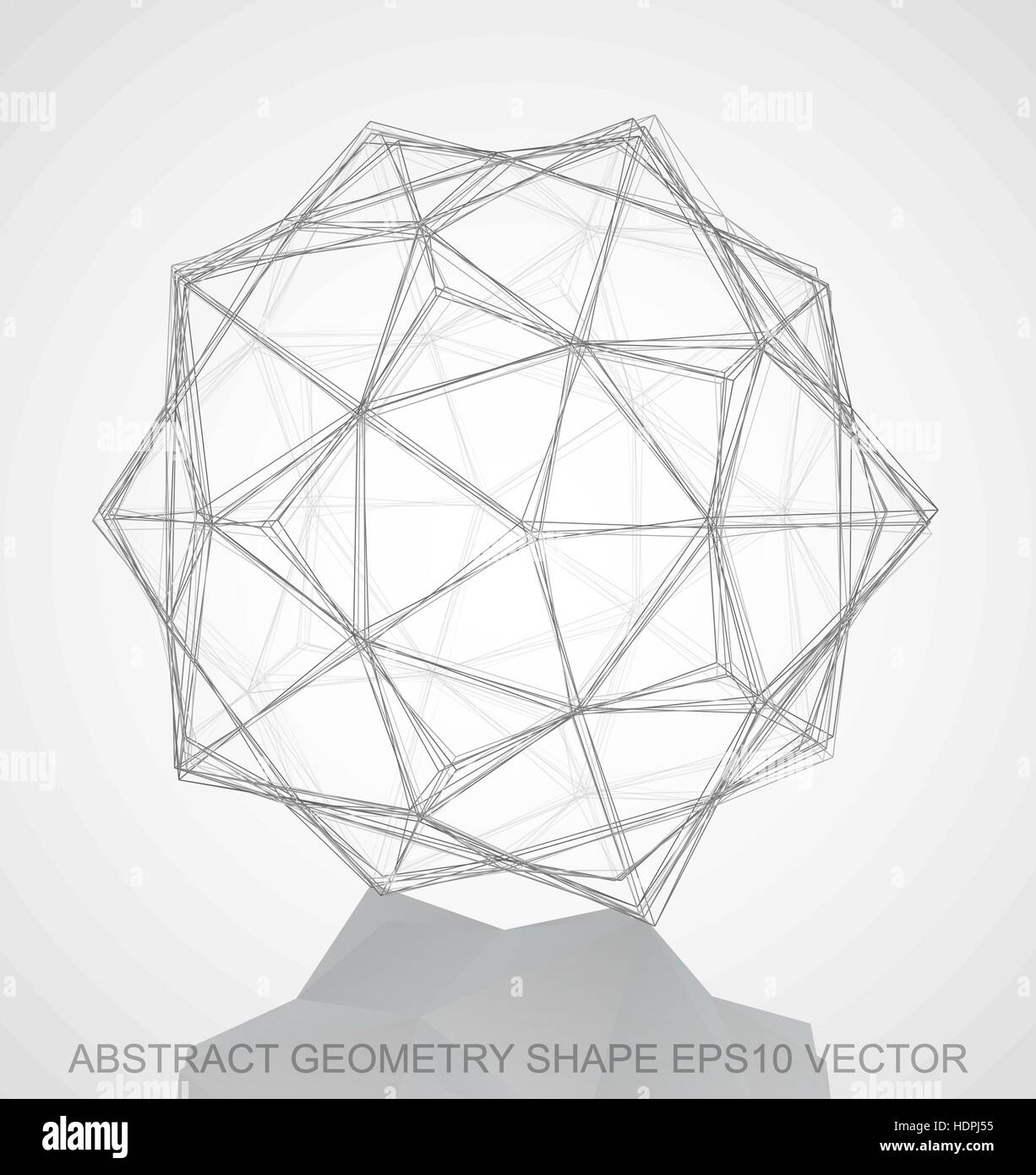Abstract stereometry shape pencil sketched dodecahedron with reflection hand drawn 3d polygonal dodecahedron eps 10 vector illustration