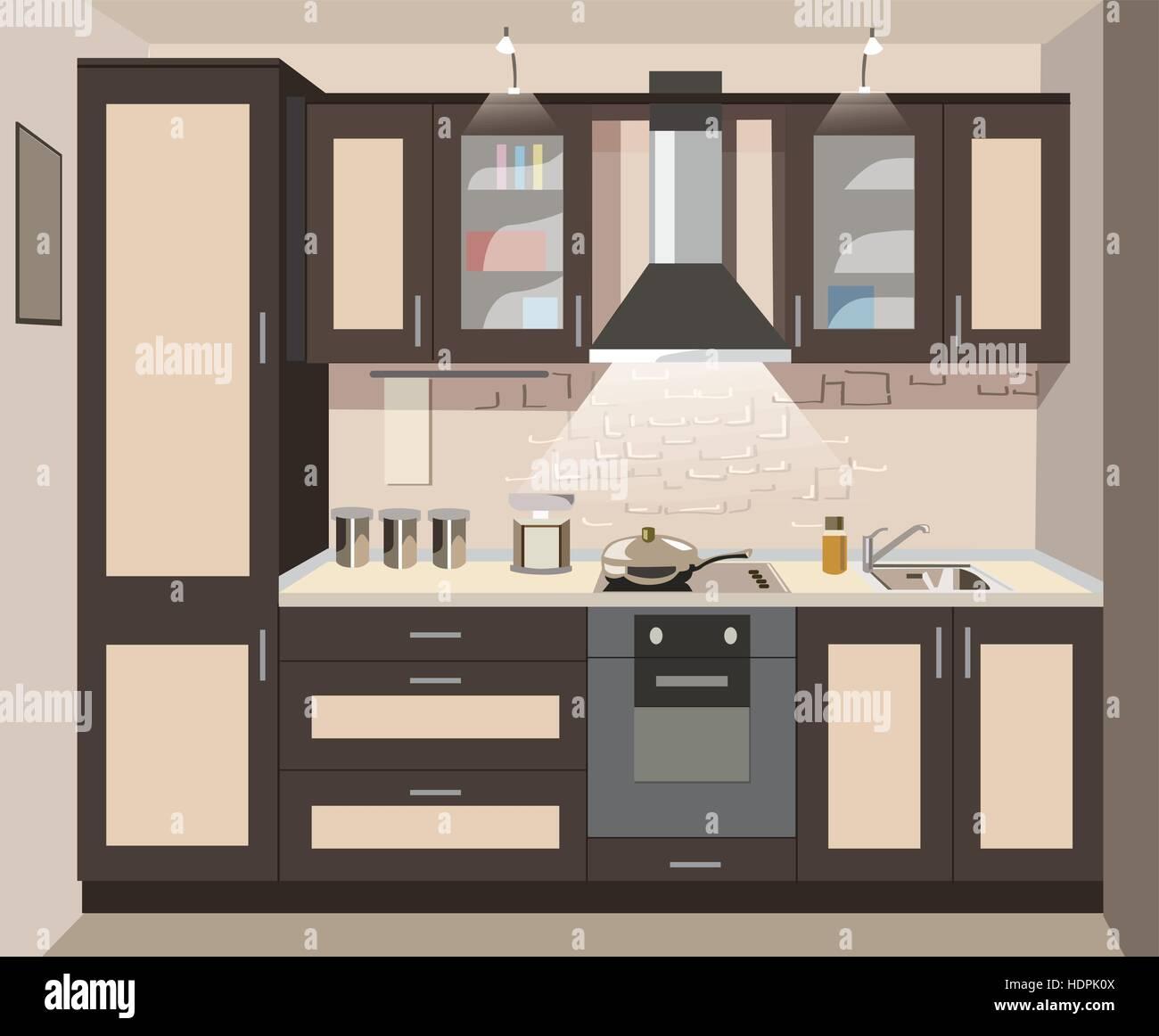 Vector Kitchen Interior Card Flat Illustration Stock Vector Art