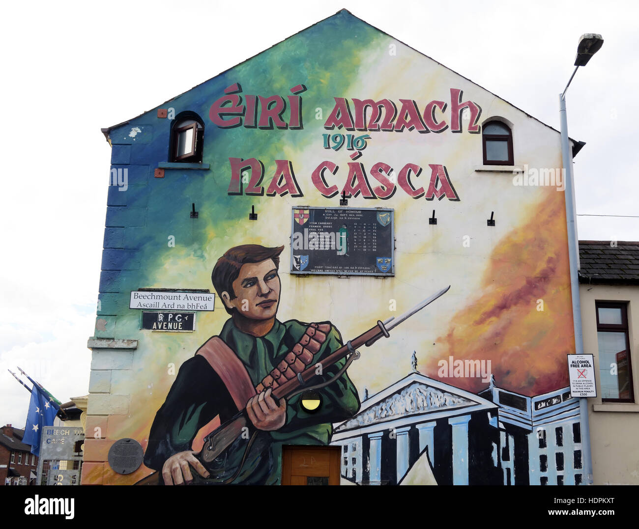Belfast Falls Rd Republican Mural- RPG Ave, Beechmount Avenue,1916 Easter Rising - Stock Image