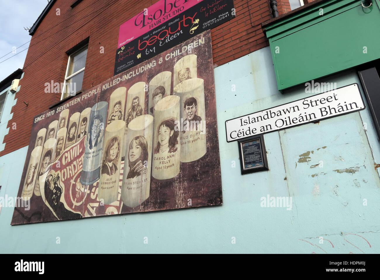 Belfast Falls Rd Republican Mural,Civil Order,Islandbawn street - Stock Image