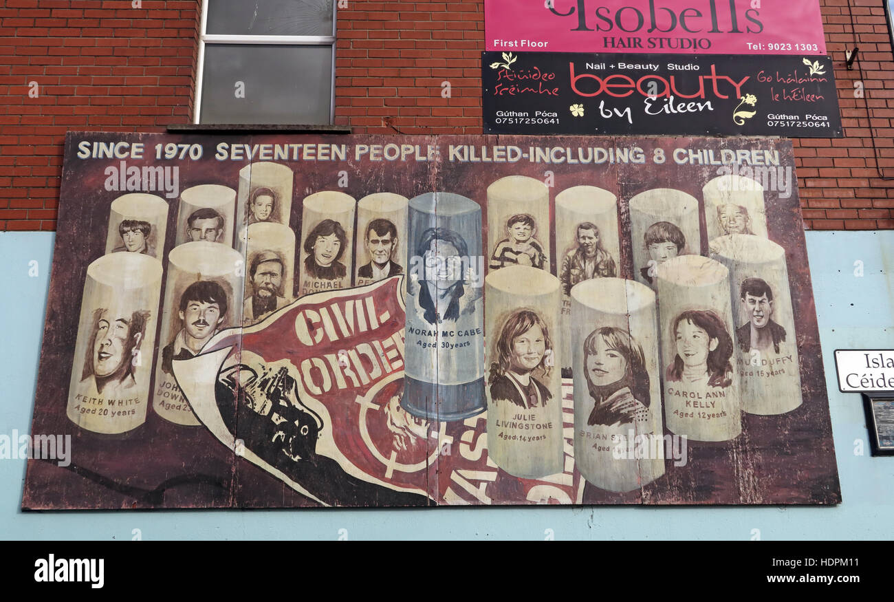 Belfast Falls Rd Republican Mural- Civil Order Disorder. Since 1970 seventeen people killed,including 8 children - Stock Image