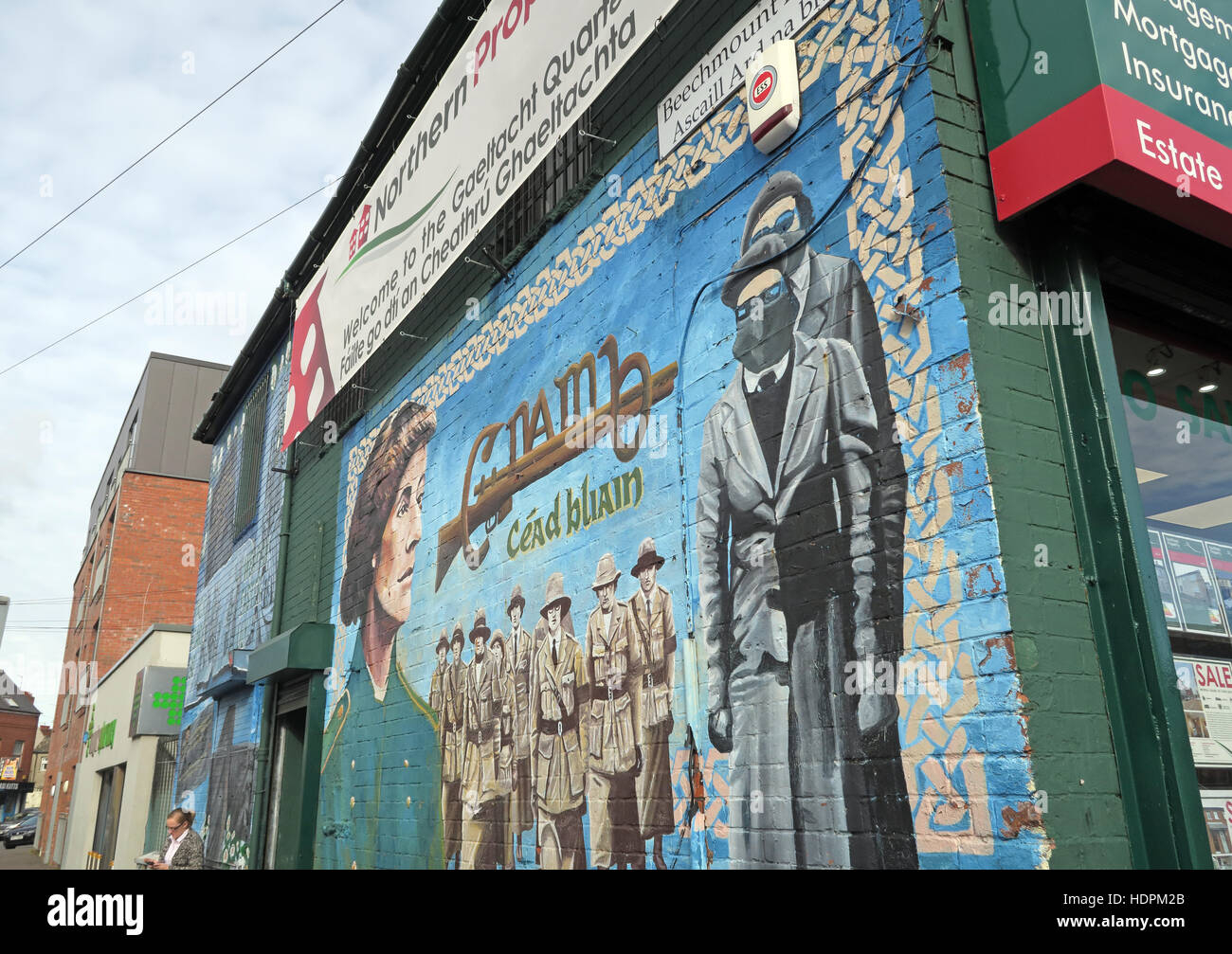 Belfast Falls Rd Republican Mural at Beechmount Ave,female resistance Stock Photo