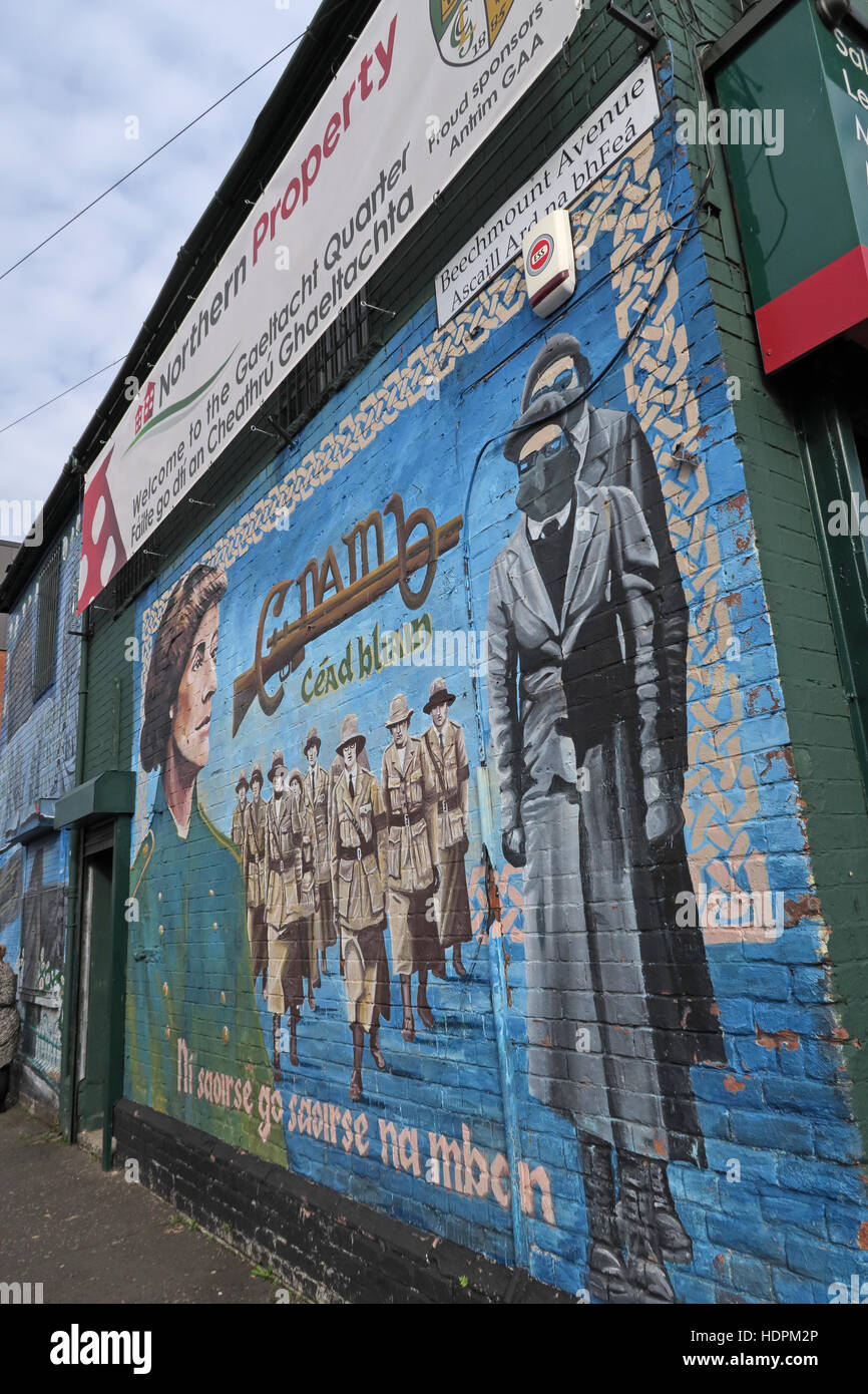 Belfast Falls Rd Republican Mural at Beechmount Ave,female resistance - Stock Image