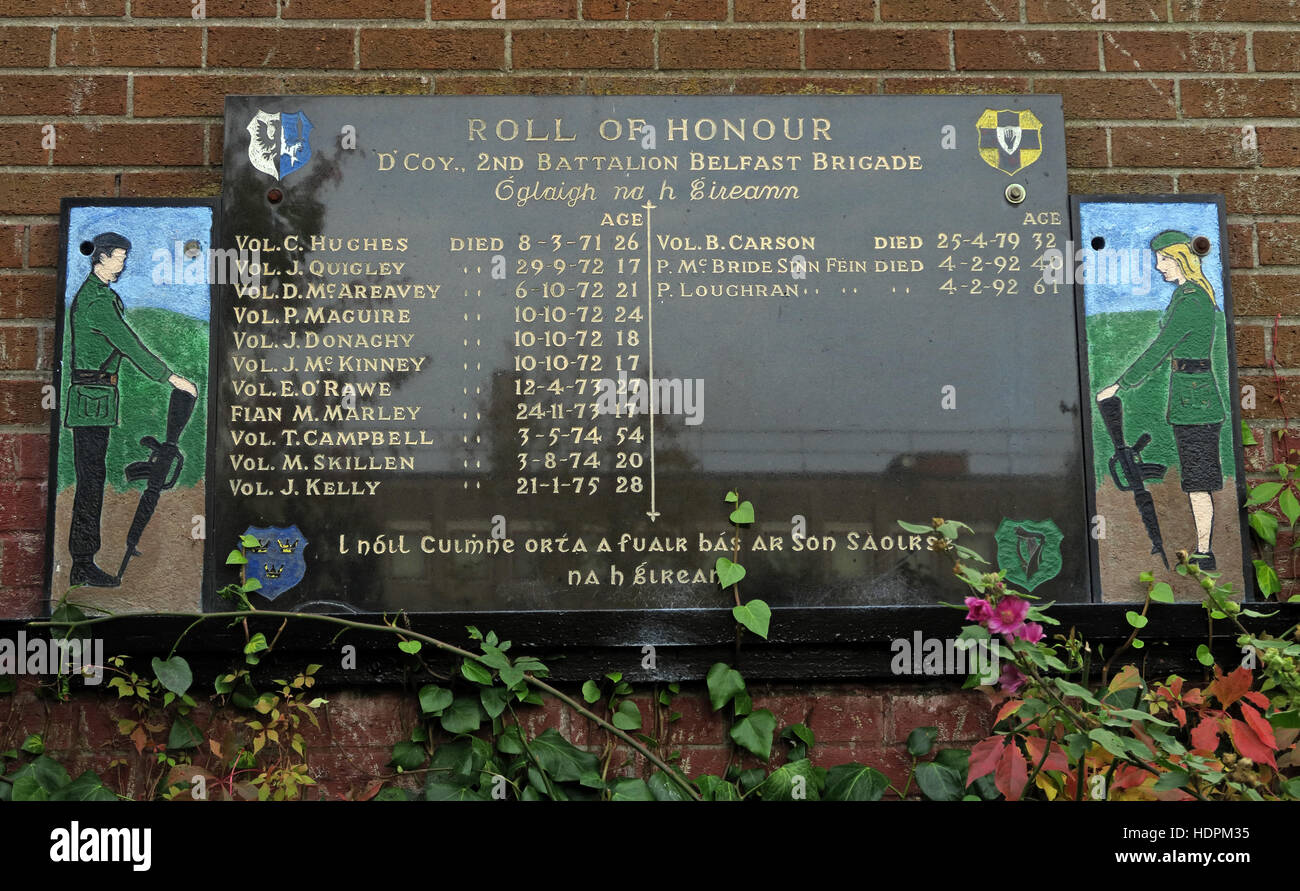 Falls rd,Garden of remembrance, IRA members killed,also deceased ex-prisoners,West Belfast,NI, UK - Roll of Honour - Stock Image