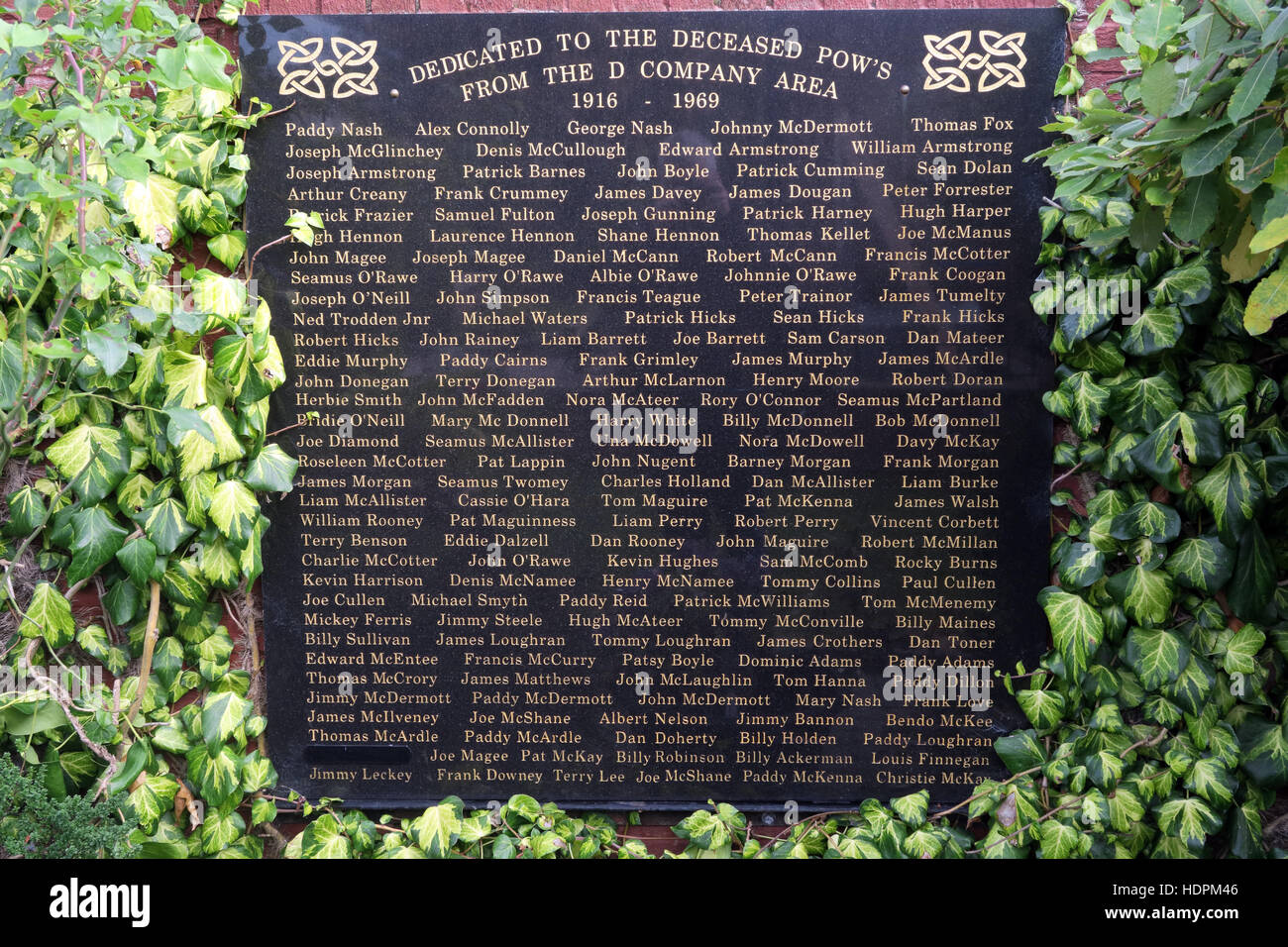 Falls rd,Garden of remembrance, Deceased POWs killed,also deceased ex-prisoners,West Belfast,NI, UK - Stock Image