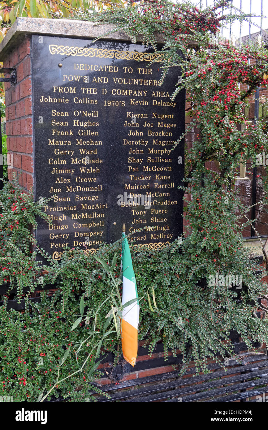 Falls rd,Garden of remembrance, IRA POW members killed,also deceased ex-prisoners,West Belfast,NI, UK with Irish - Stock Image