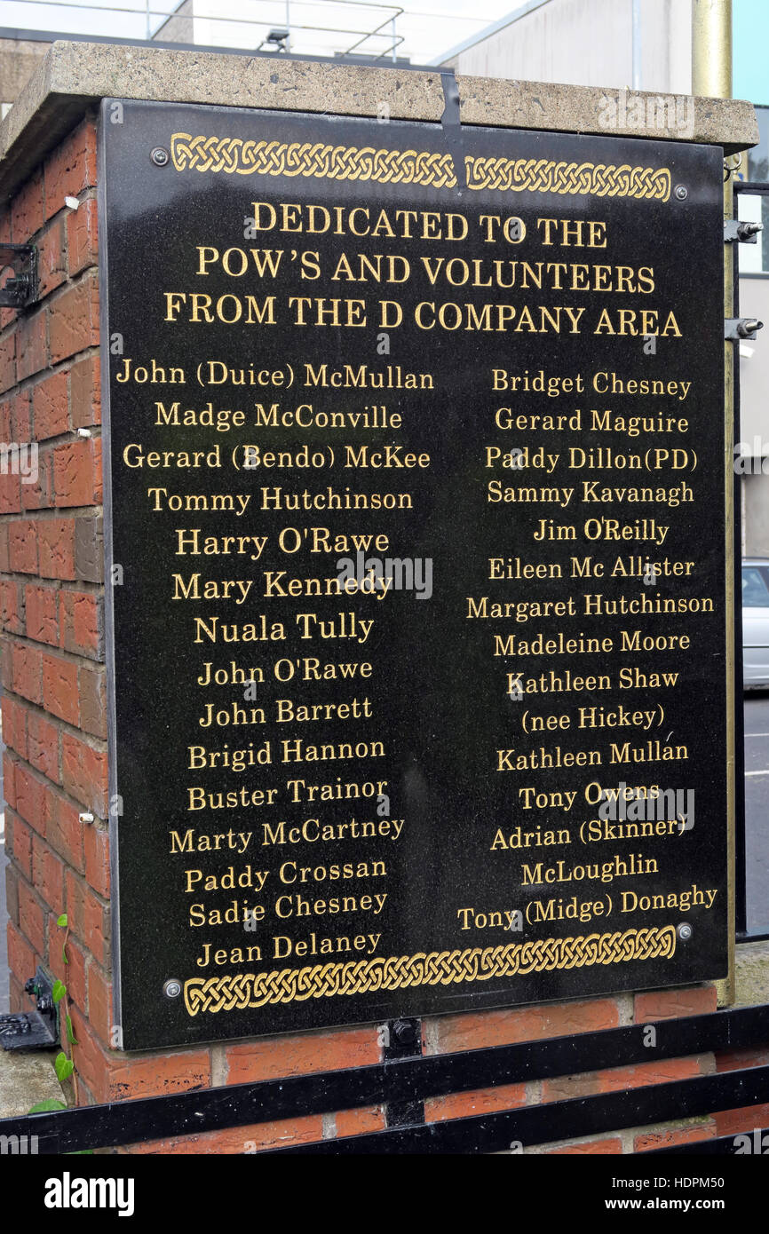 Falls rd,POWs Garden of remembrance, IRA members killed,also deceased ex-prisoners,West Belfast,NI, UK - Stock Image