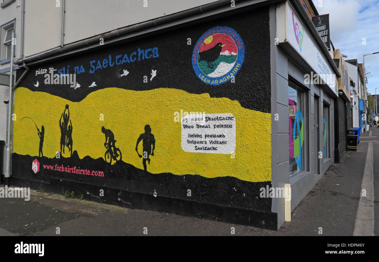 Belfast Falls Rd Republican Mural- Brighton Street,promoting West Belfast - Stock Image