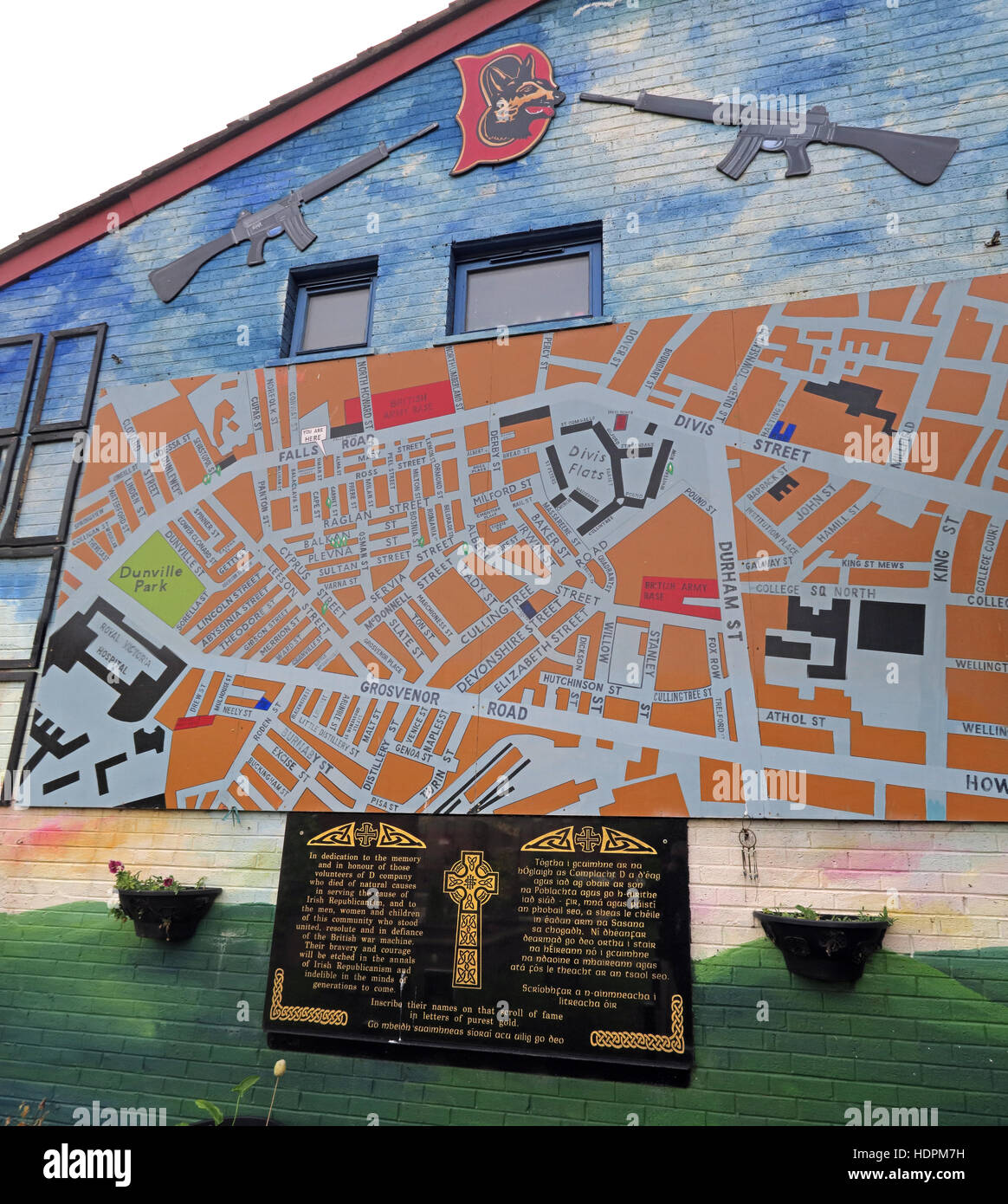 Falls rd,Garden of remembrance map, IRA members killed,also deceased ex-prisoners,West Belfast,NI, UK - Stock Image