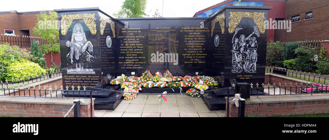 Pano of Falls rd,Garden of remembrance, IRA members killed,also deceased ex-prisoners,West Belfast,NI, UK - Stock Image