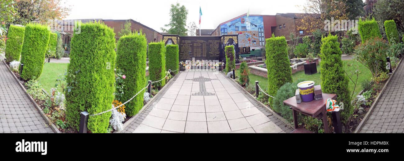 Panorama of Falls rd,Garden of remembrance, IRA members killed,also deceased ex-prisoners,West Belfast,NI, UK - Stock Image