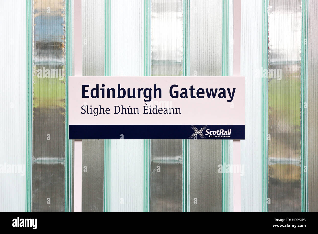 Edinburgh Gateway train station sign with Gaelic translation. - Stock Image