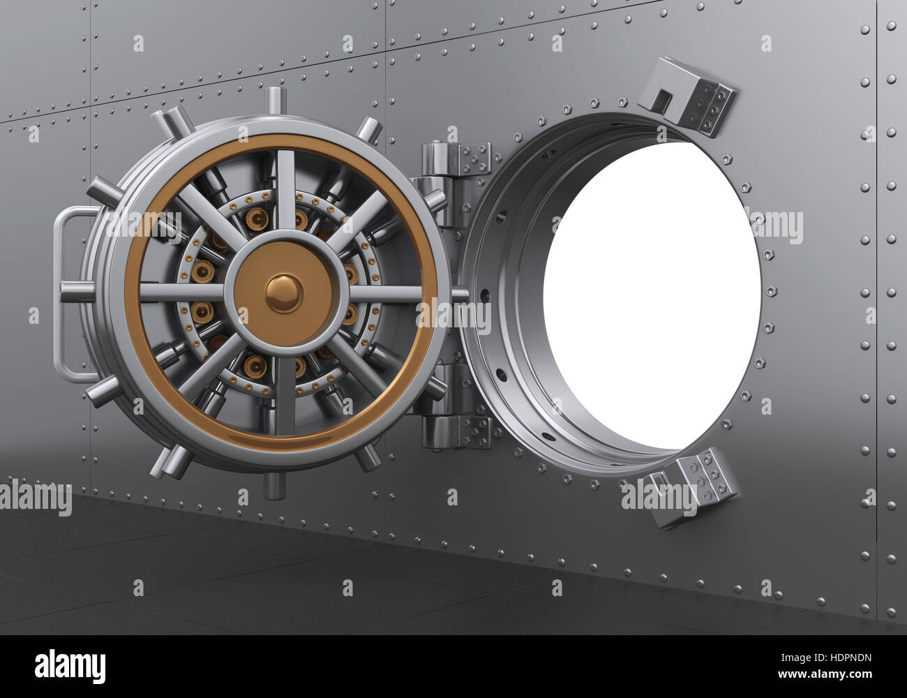 Open Bank Vault Door - Stock Image