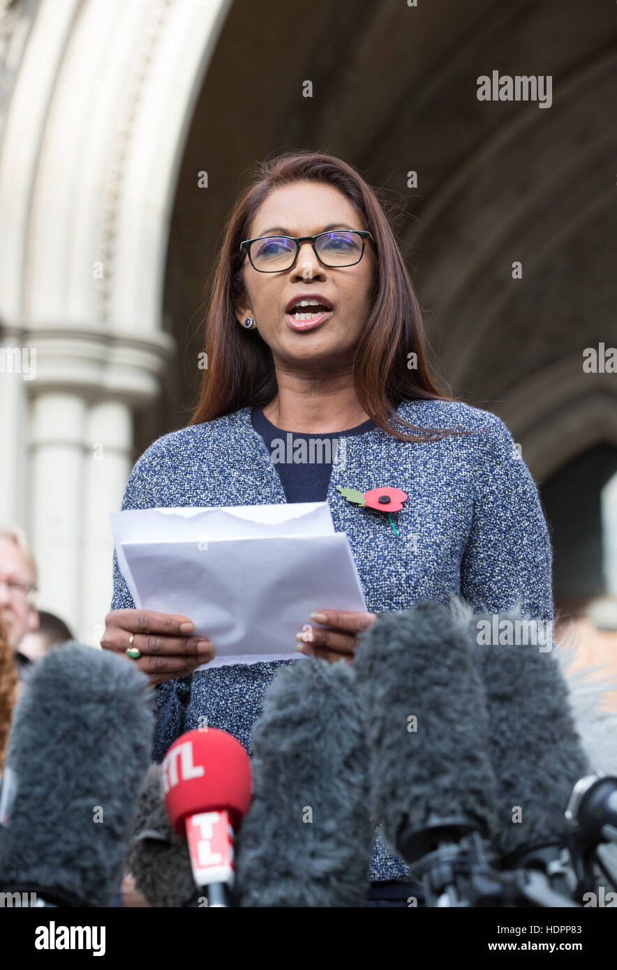 SCM Private co-founder Gina Miller speaks outside the High Court during her challenge of the Brexit decision by Stock Photo