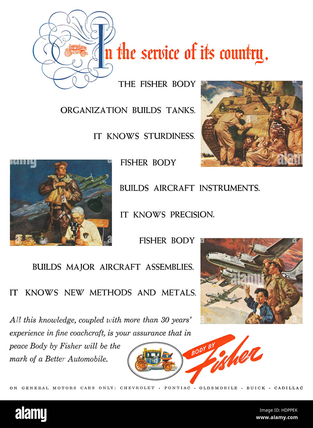 1945 U.S. wartime advertisement for Fisher Body - Stock Image