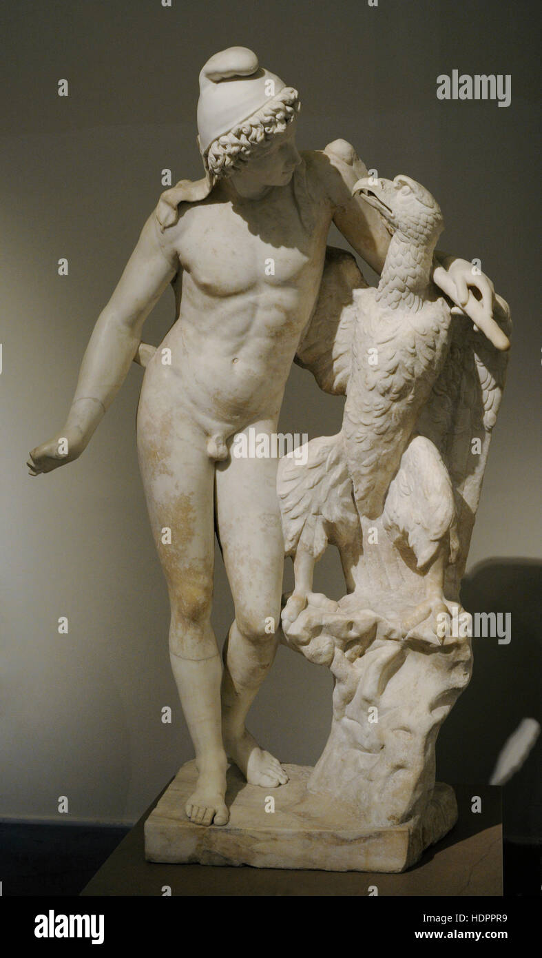 Ganymede with eagle. 2nd century Ad copy of a Hellenistic model from the 4th century BC. National Archaeological - Stock Image