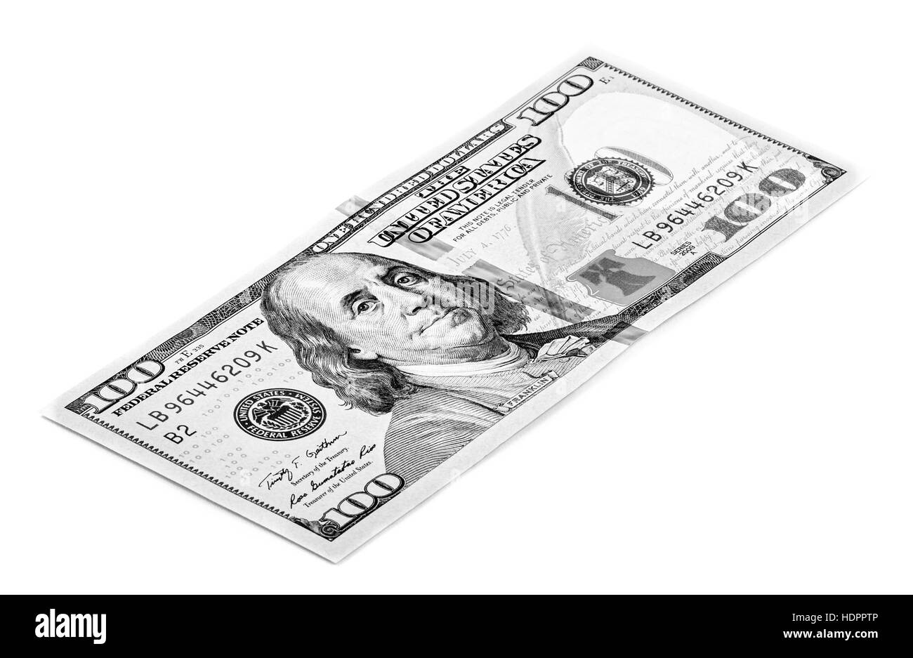 Hundred dollar bill isolated on white background, in black and white - Stock Image