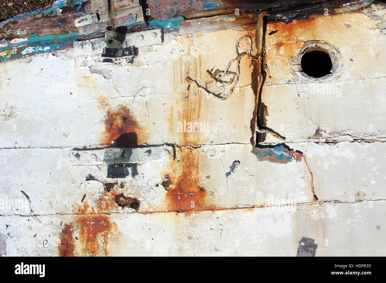 close up of old fishing boat Stock Photo