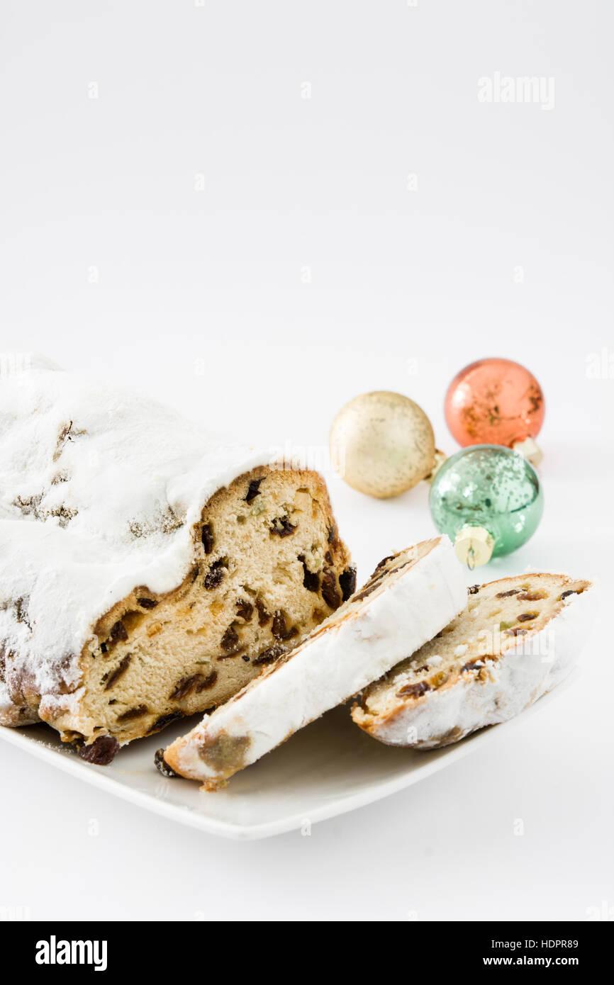 Christmas stollen. Traditional German Christmas dessert. - Stock Image