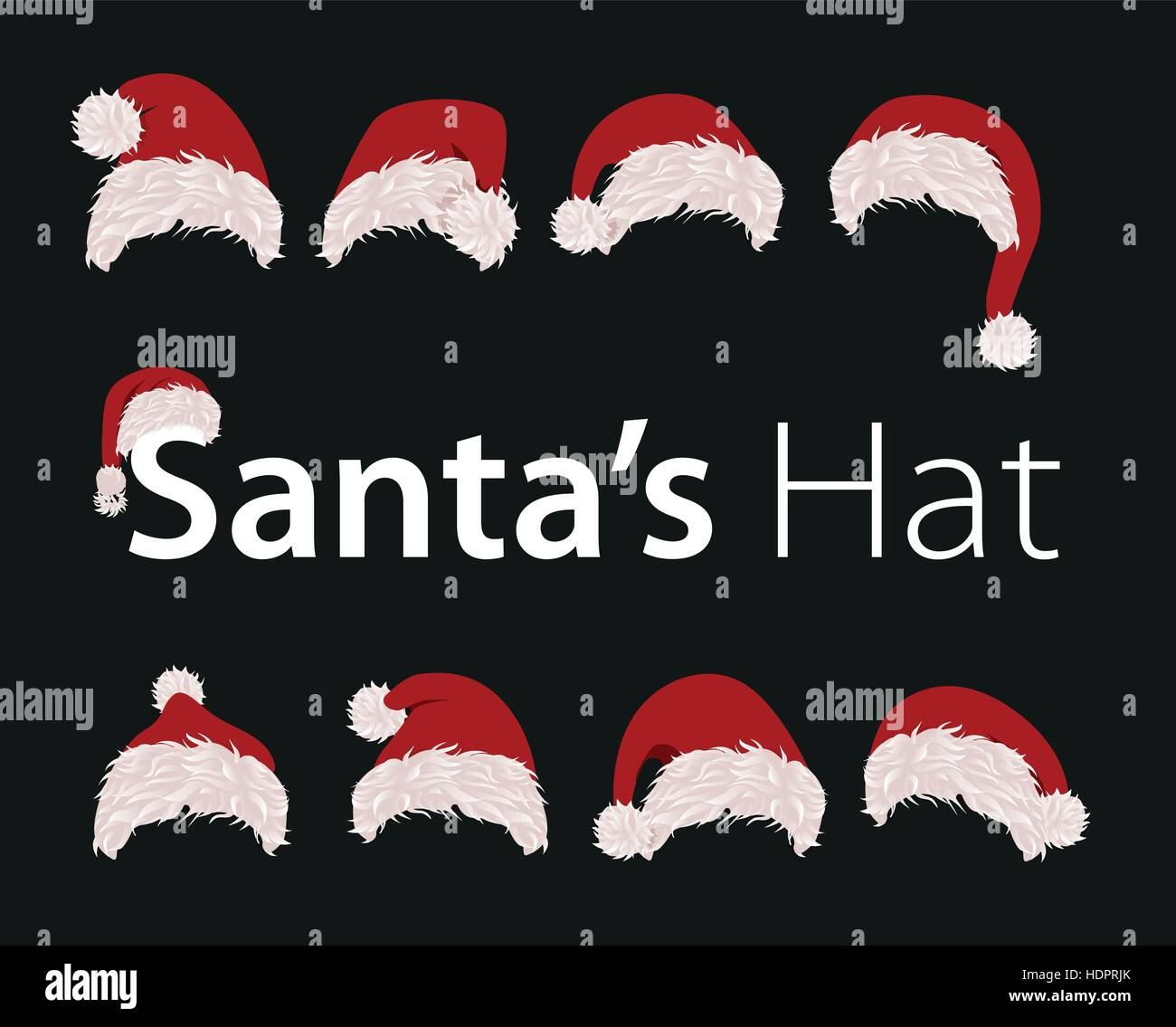 ea9e84ecca3c2 Collection of red santa hats. Vector illustration. New year accessory on  black background. Isolated winter holiday costume element.
