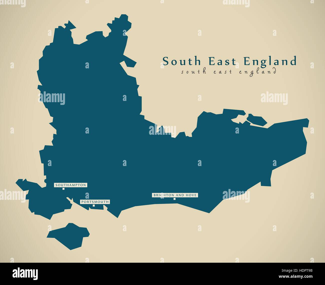 Map Of Southern England Uk.Modern Map South East England Uk Illustration Stock Photo