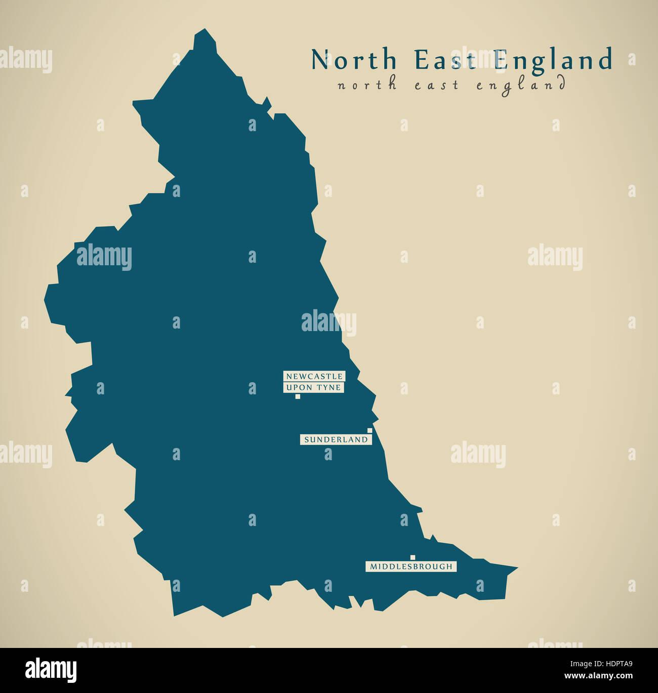 Map Of Uk Hd.Modern Map North East England Uk Illustration Stock Photo