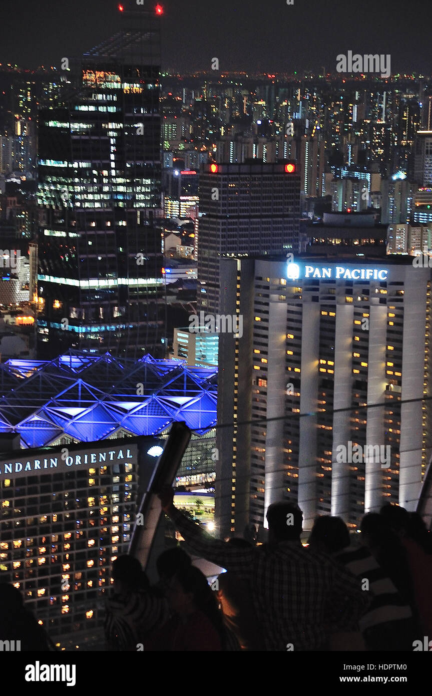 Aerial view from Sky Bar Singapore Marina Sands - Stock Image