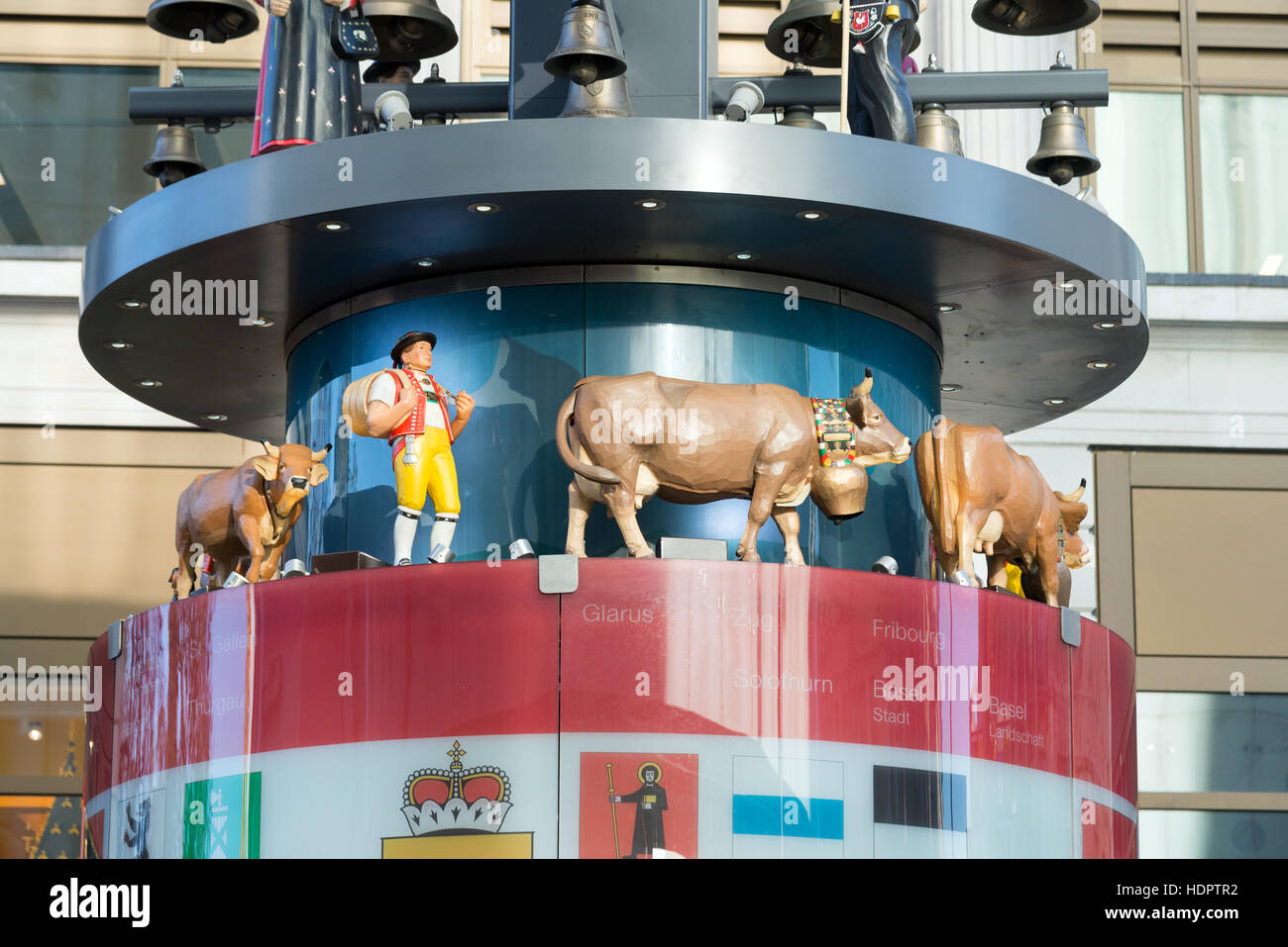 The Swiss Glockenspiel in Leicester Square, London, England, UK - Stock Image