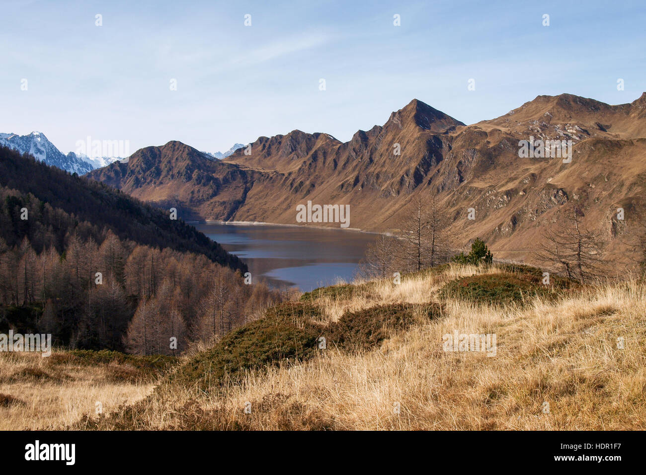 Val Piora, Switzerland: Lakes Ritom, Cadagno, Tom in the autumn. Stock Photo