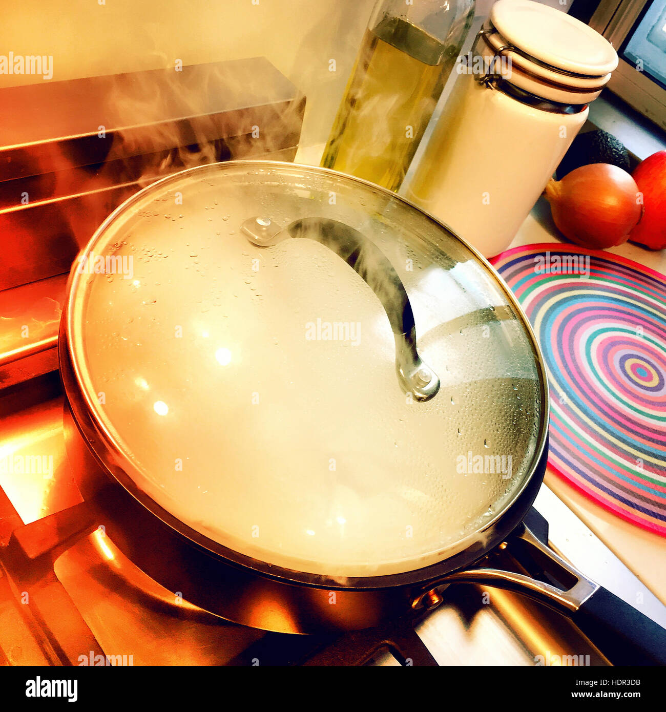 Steaming Pot on Residential Stovetop - Stock Image