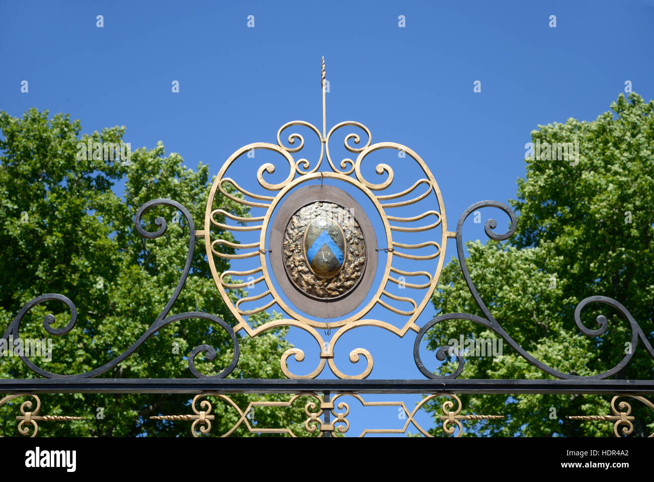 Coat of Arms or Heraldry Symbol at the Entrance Gate to the c18th Château de Sauvan Mane, near Forcalquier, - Stock Image