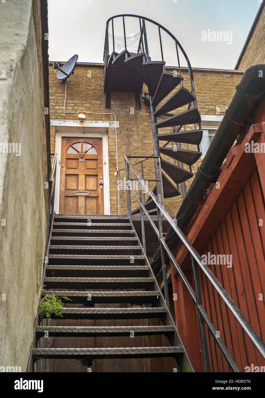 Iron Staircase To Door With Spiral Iron Staircase To Roof   Stock Image