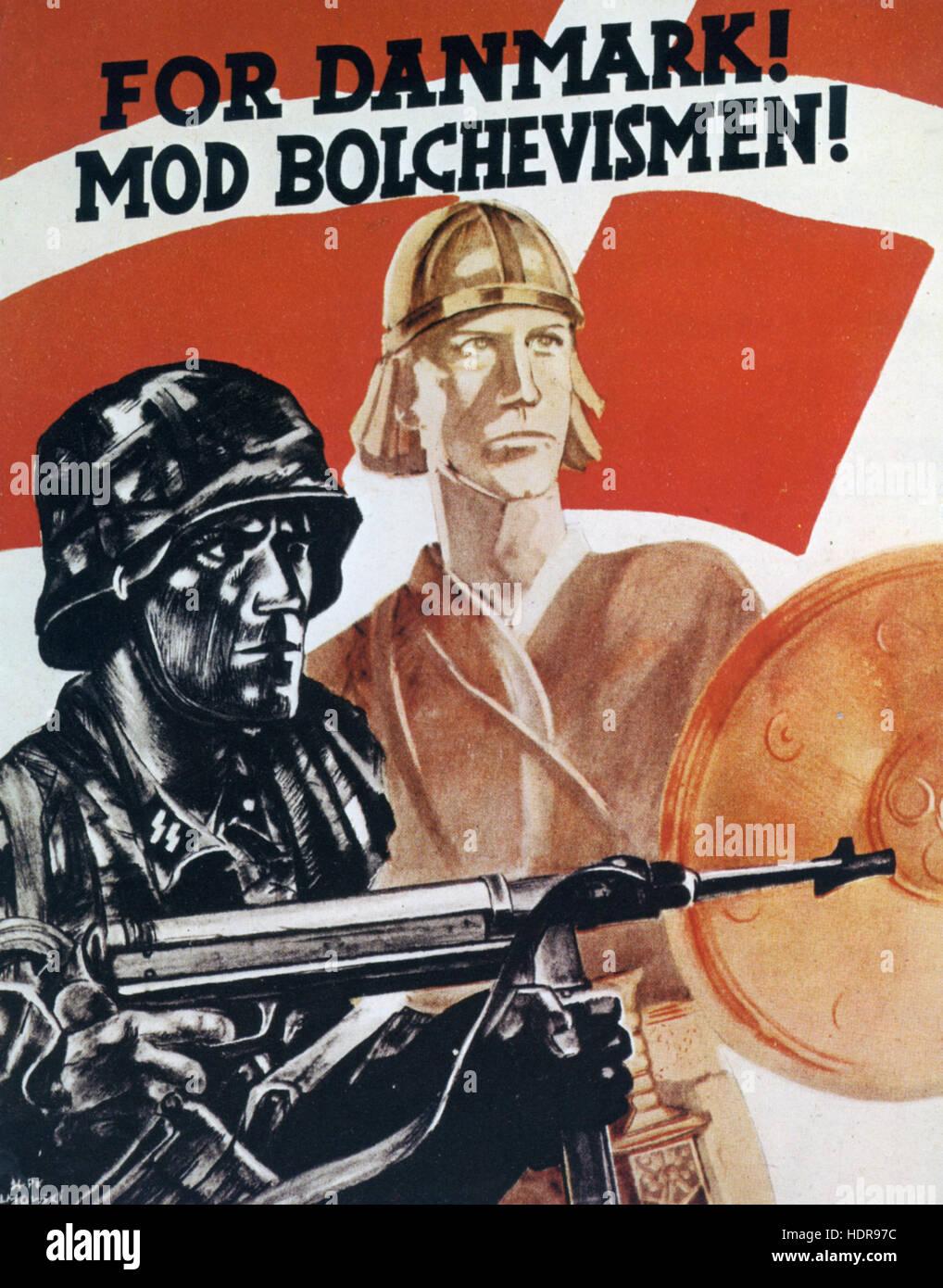 FOR DENMARK ! AGAINST BOLSHEVISM !  WW2 Danish Nazi propaganda poster - Stock Image