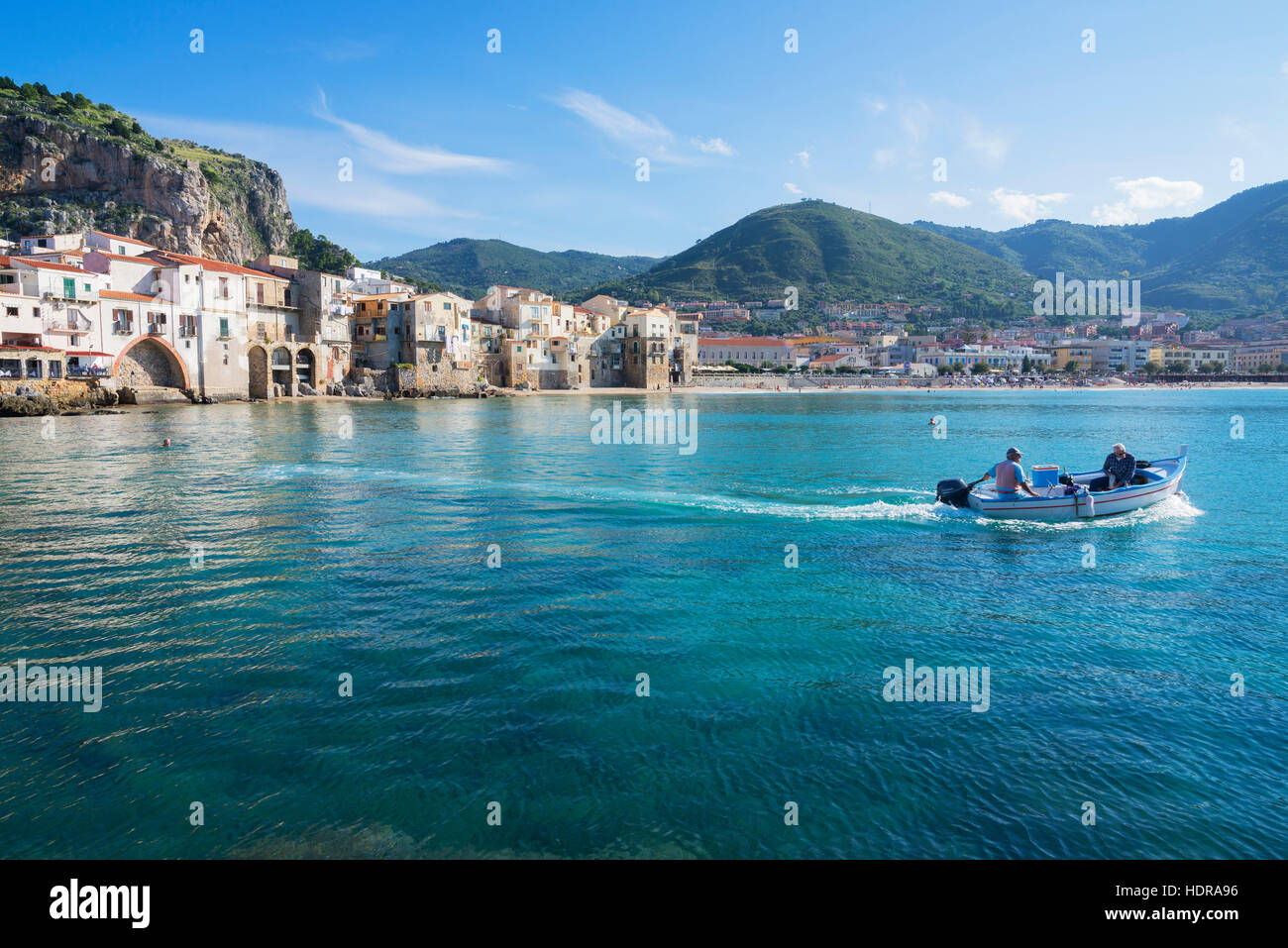 Fishermen boat, Cefalu, Sicily, Italy, Europe - Stock Image
